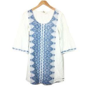 Billabong White Flare-Sleeve Cotton Dress